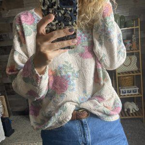 VTG Glory US Floral Textured Cottagecore Sweater